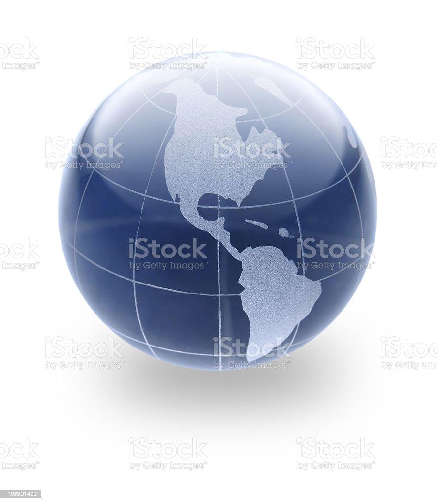 Blue Earth glass Globe royalty-free stock photo