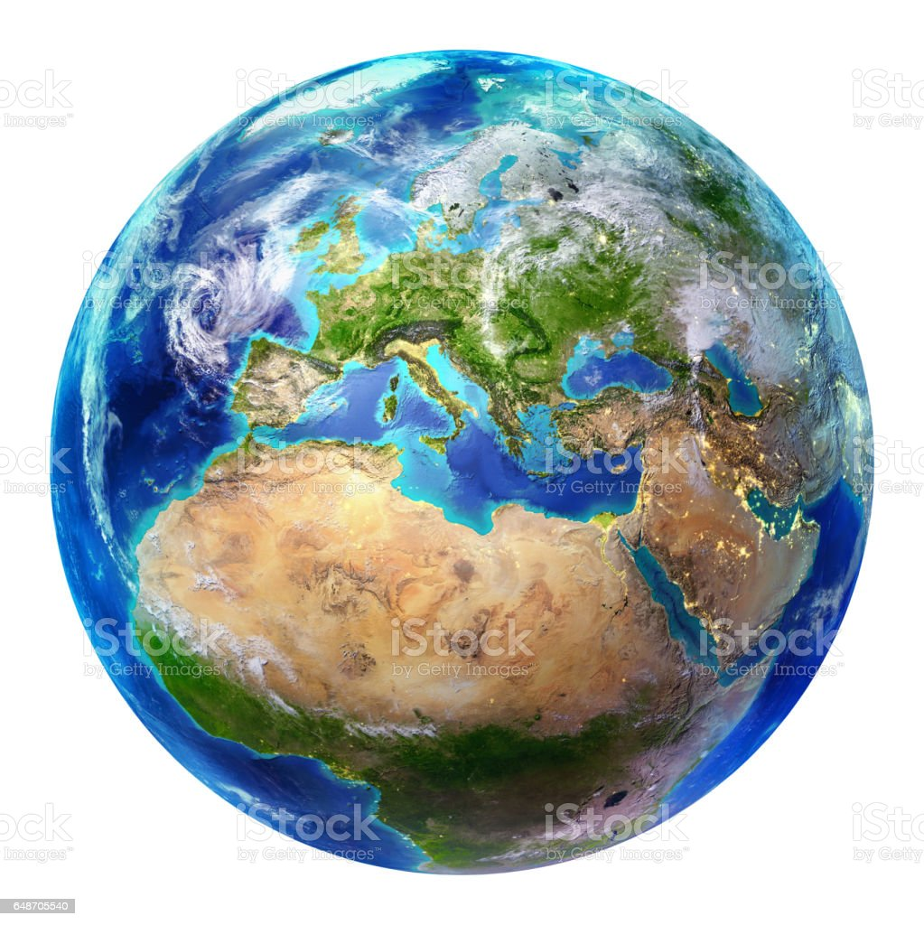 Blue Earth Globe Isolated - Europe stock photo