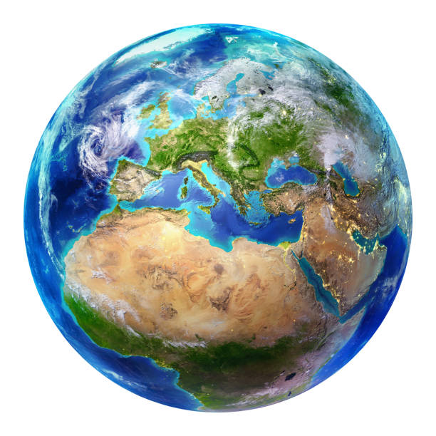 blue earth globe isolated - europe - continent geographic area stock photos and pictures