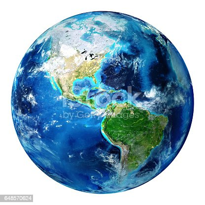 istock Blue Earth Globe Isolated - Usa 648570624