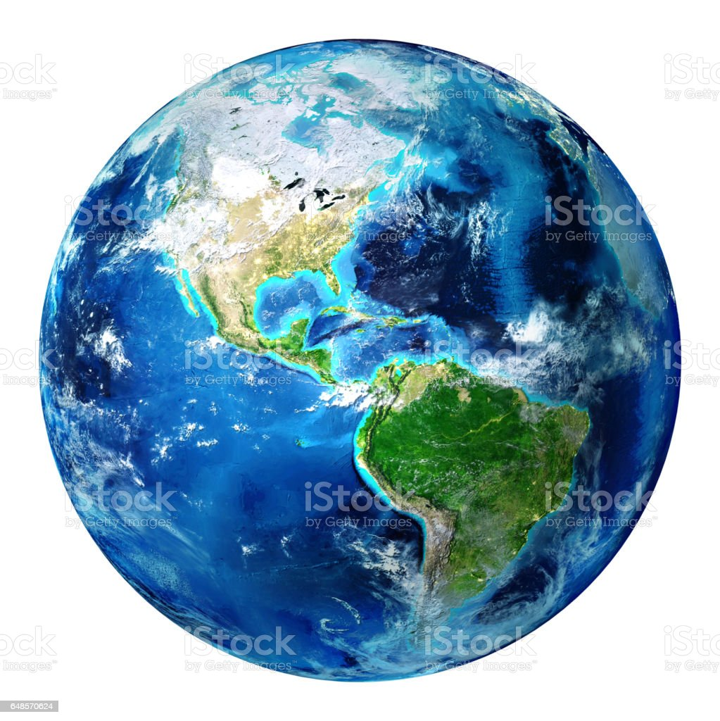 Blue Earth Globe geïsoleerd - Usa​​​ foto