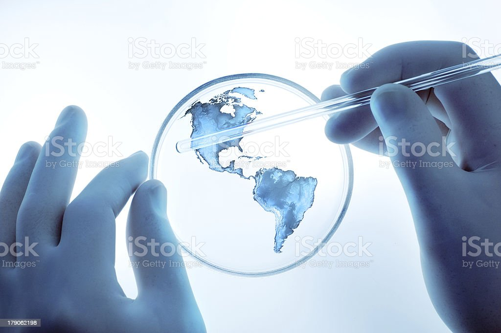 Blue earth in the test-tube stock photo