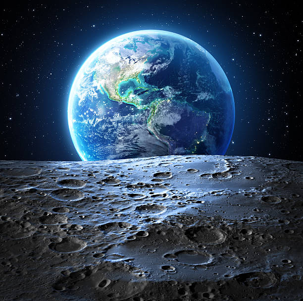 blue earth view from moon surface - usa - moon stockfoto's en -beelden
