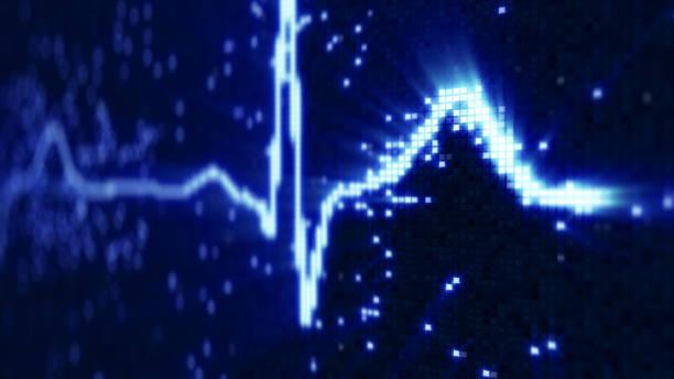 Blue EKG electrocardiogram waveform on monitor stock photo