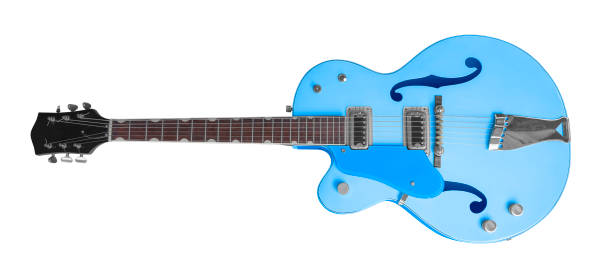 blue electric guitar stock photo