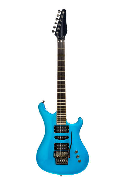 Blue electric guitar ready for rock, metal or pop music stock photo