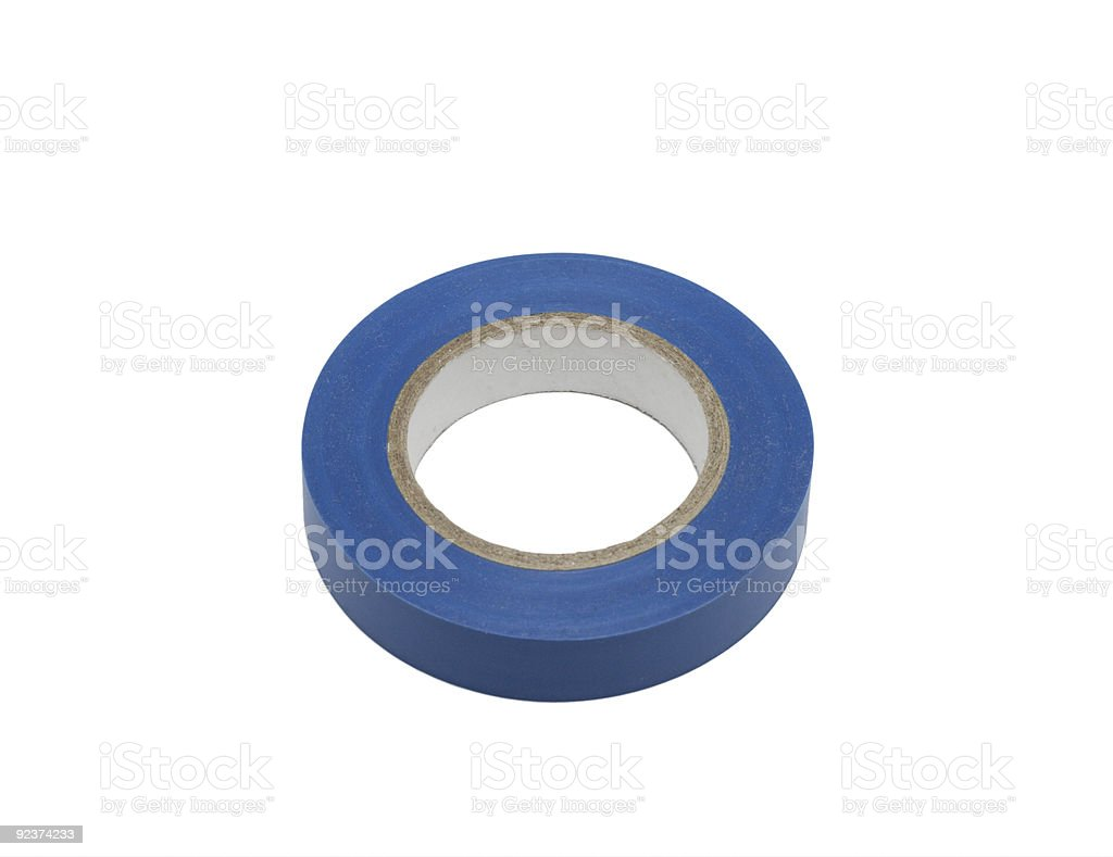 Blue electric insulation tape, isolated royalty-free stock photo