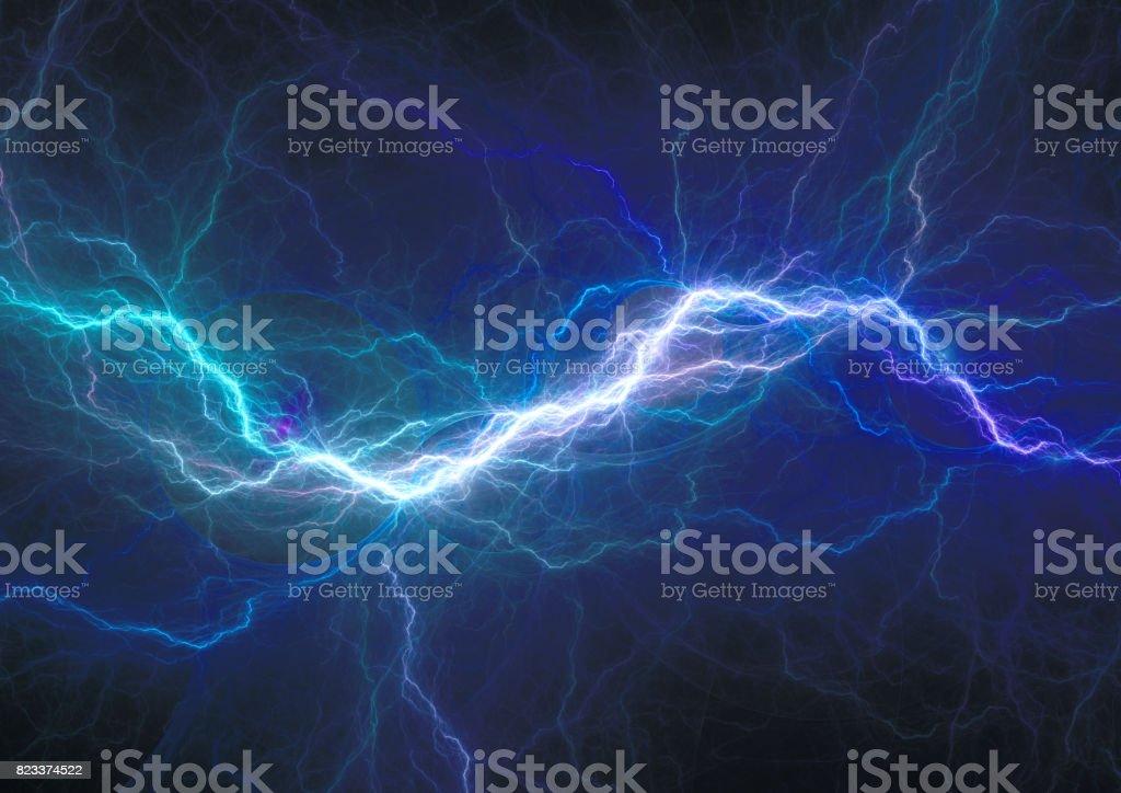 Descarga eléctrica azul, fondo plasma y energía - foto de stock