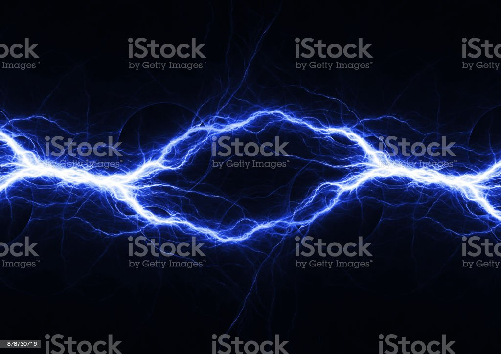 Blue electrical lightning, abstract plasma background stock photo