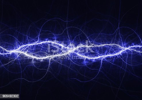 istock Blue electrical lightning background, plasma and electrical abstract 905492302