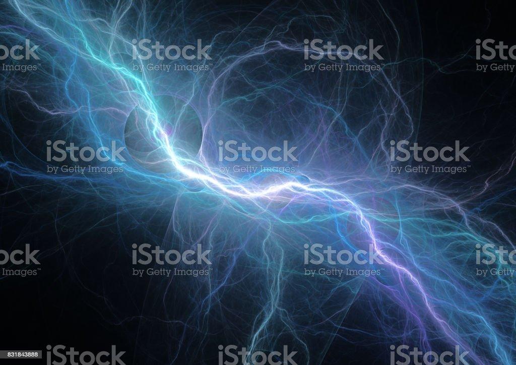 Fondo azul de rayos, potencia y energía eléctrica - foto de stock