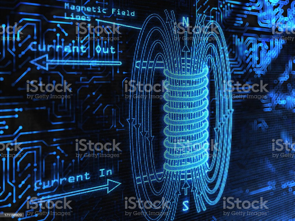 Blue electromagnetic field with arrows stock photo