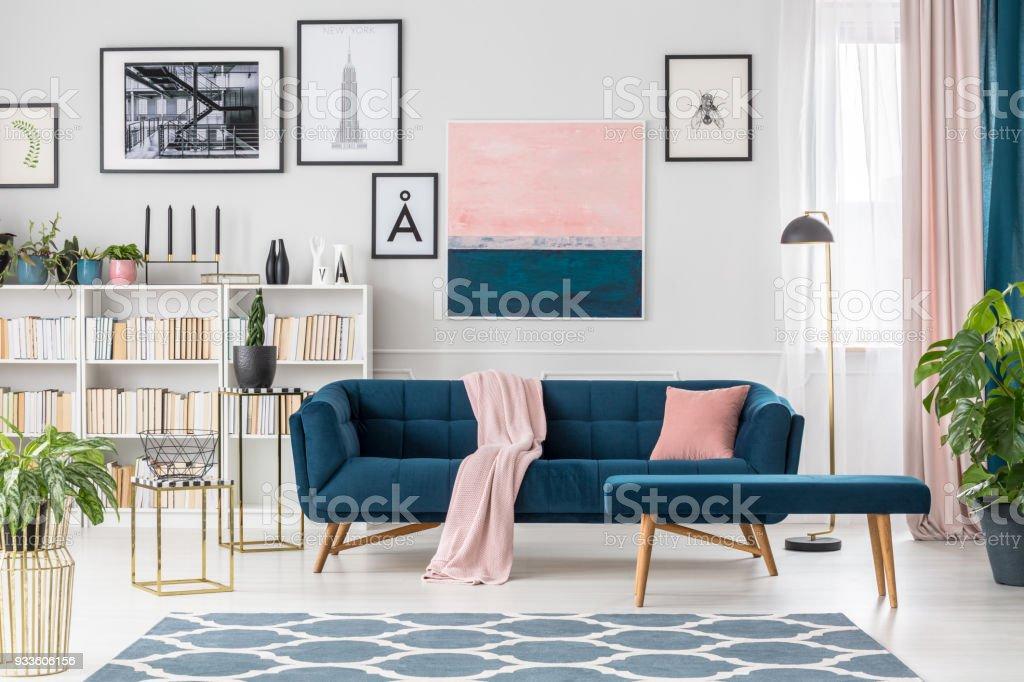 Blue elegant living room interior stock photo