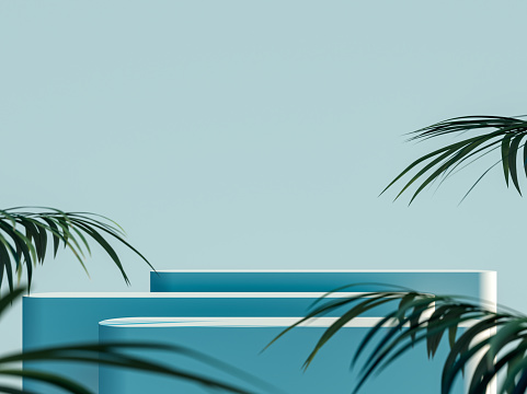 Blue empty mock up space with multiple platforms and green palm leaf decoration 3D Rendering
