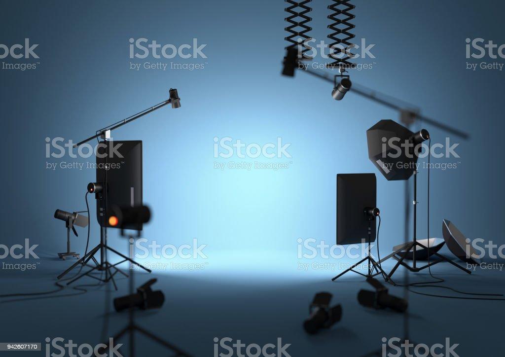 Blue Empty Photography Studio stock photo