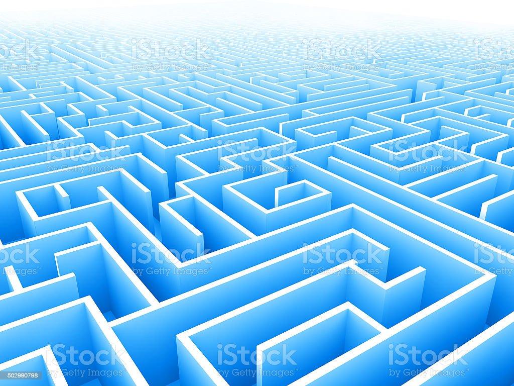blue endless maze 3d illustration stock photo