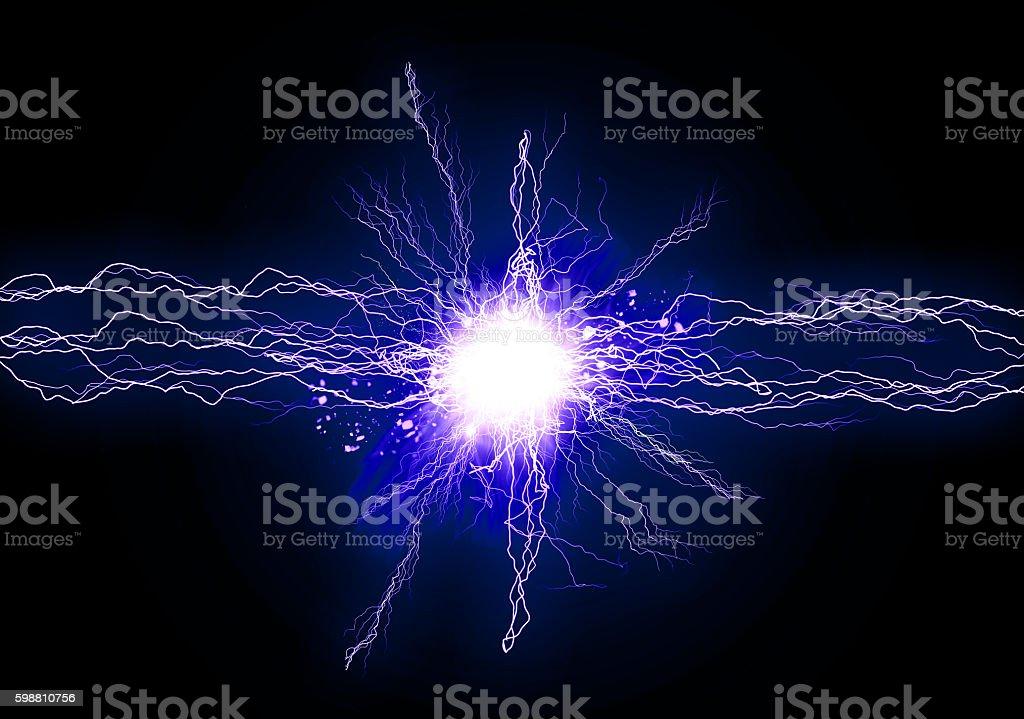 Blue energy lights stock photo