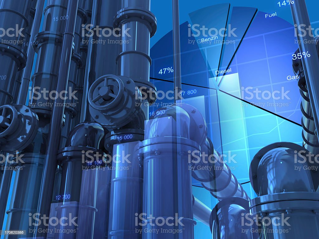Blue energy pie chart with pipes stock photo