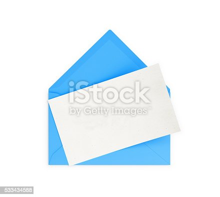 Blue  envelope and empty note. Isolated on white background. Clipping path is included.  Great use for invitation concepts.