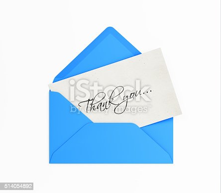 513601840 istock photo Blue Envelope and Thank you Note 514054892