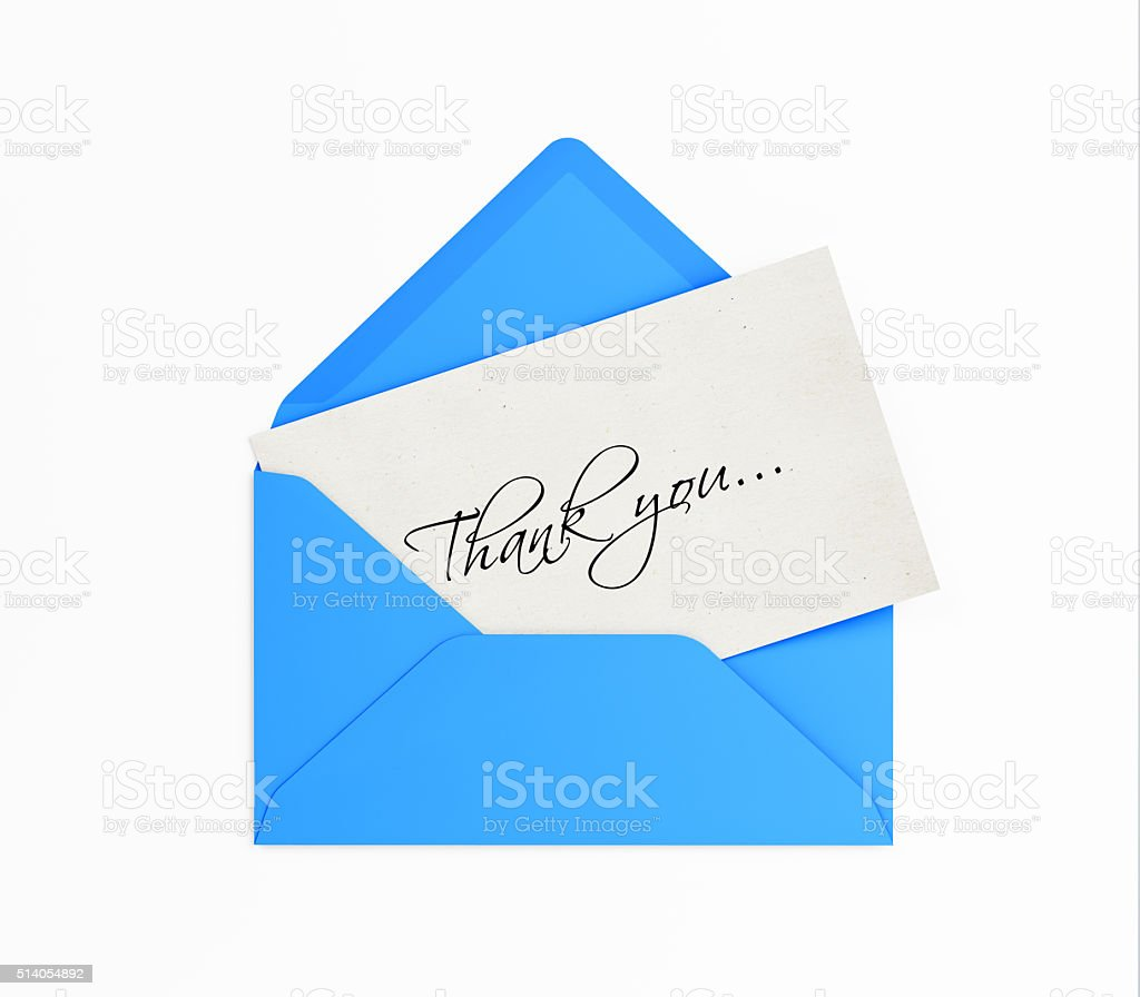 Blue Envelope and Thank you Note stock photo