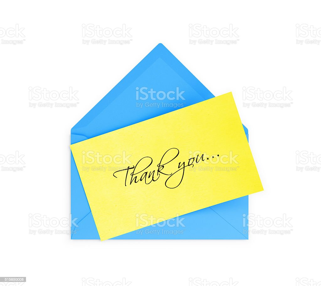 Blue Envelope and Yellow Thank you Note stock photo