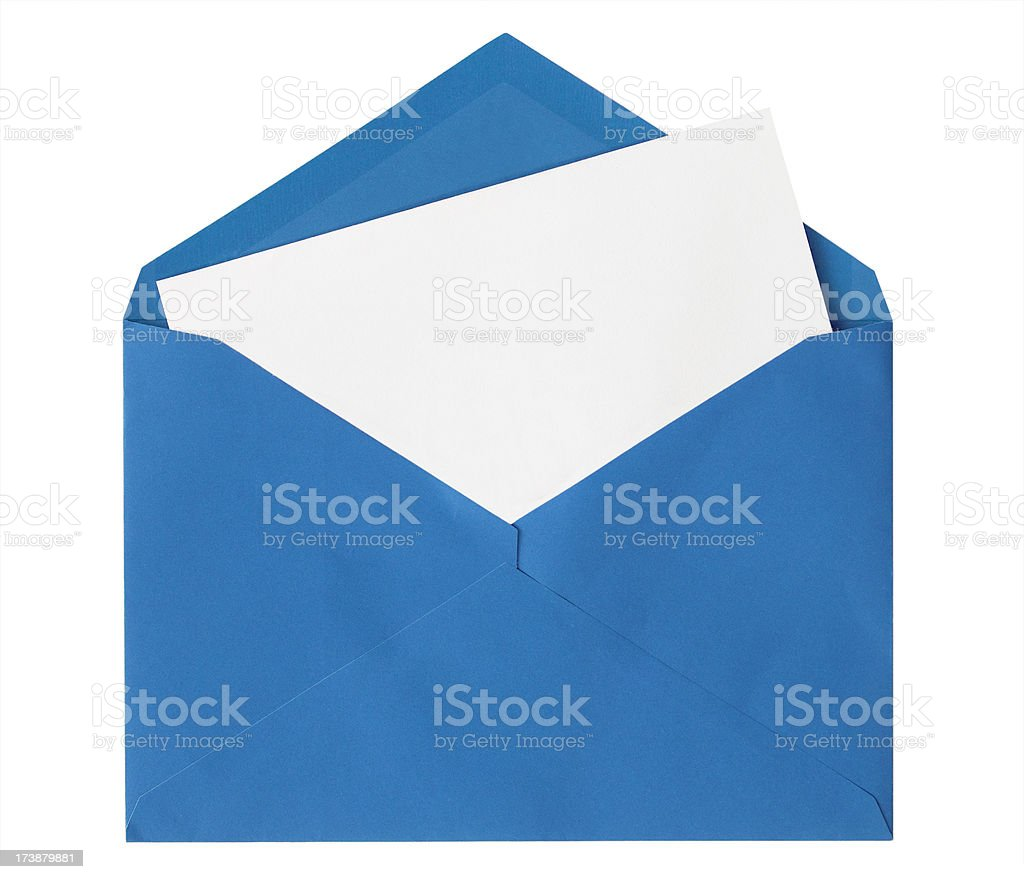 Blue Envelope Isolated on White stock photo