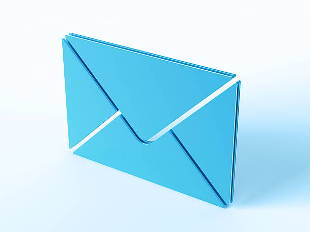 Blue Envelope Post Office Symbol 3D Render of a envelope/Post Office symbol. Concept image for Mail Services. Very high resolution available! blue 3d business NOT map NOT background stock pictures, royalty-free photos & images