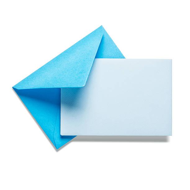 ブルーの封筒にカード ストックフォト