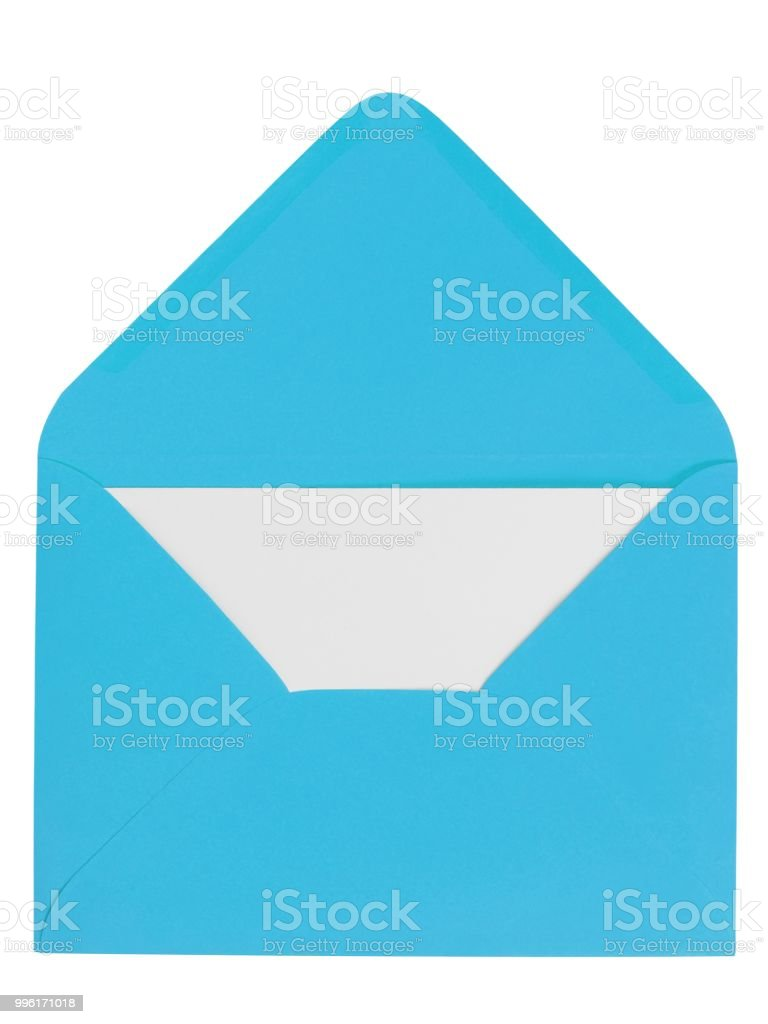 Blue envelope with letter stock photo