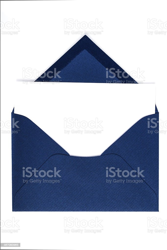 Blue envelope with note (Clipping path) stock photo