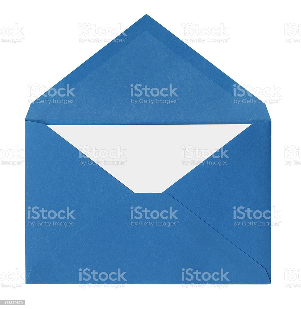 Blue Envelope with White Card Isolated on White stock photo