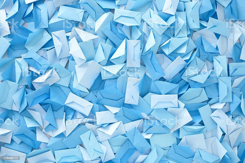 Blue envelopes stock photo
