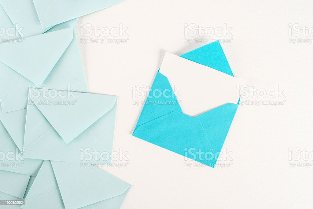 Blue envelopes with card stock photo