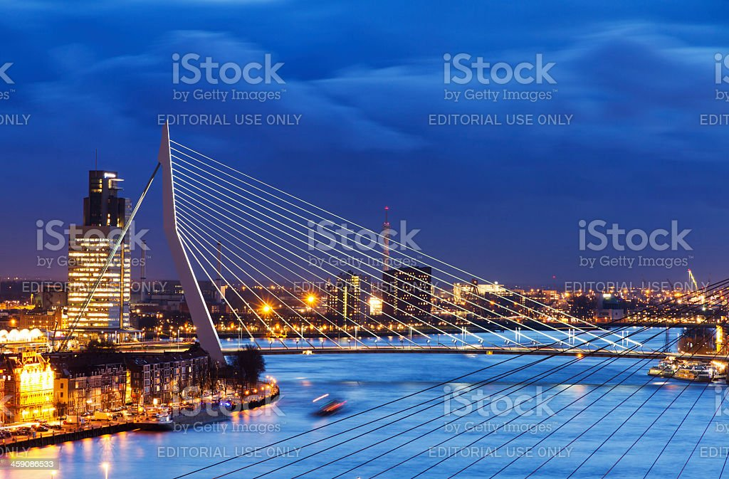 Blue Erasmus bridge royalty-free stock photo