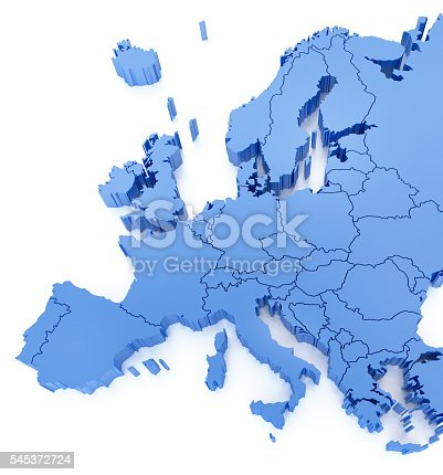 istock Blue Europe Map with countries 545372724
