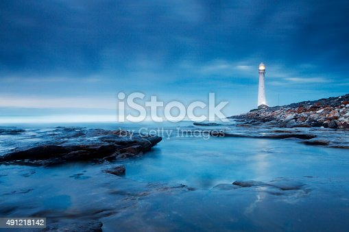 Soft blue hues of early evening, and a subtle reflection of the lighthouse in the water in the foreground. Photographed on a Canon 5D mkiii and an ND Grad filter, with slow shutter speed to create soft, moody water. This is the Slangkop lighthouse in Kommetjie, on the Cape peninsula near Cape Town, South Africa.