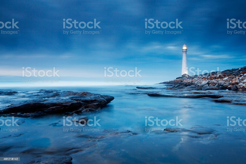 Blue Evening Lighthouse Landscape stock photo