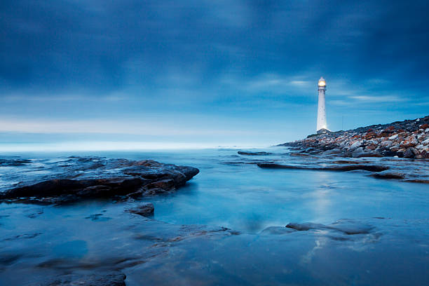 Blue Evening Lighthouse Landscape stock photo