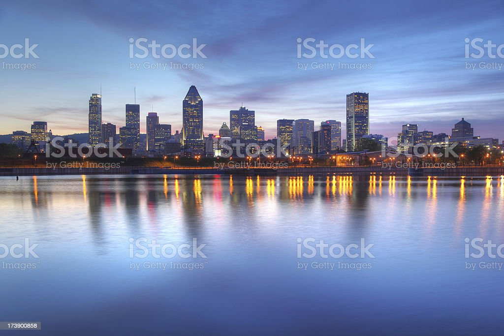 Blue Evening Sky over Montreal Cityscape stock photo