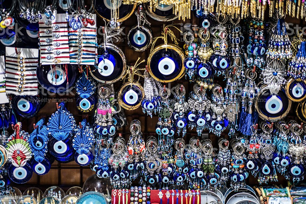 Blue Evil Eye glass ornaments in Istanbul markets. stock photo