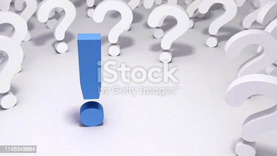 istock Blue Exclamation Mark Surrounded by White Question Marks 1145349664