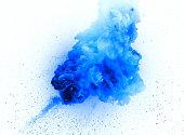 Blue explosion isolated on white background