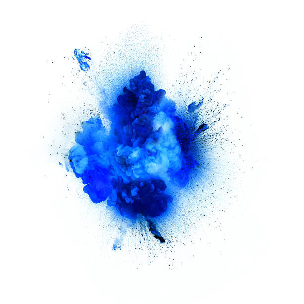 blue explosion isolated on white background - blue powder stock photos and pictures