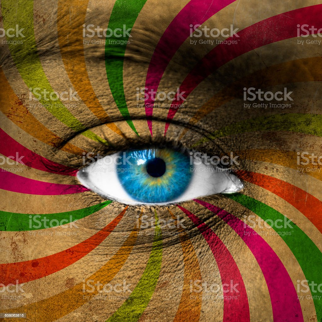 Blue eye and abstract colorful stripes royalty-free stock photo