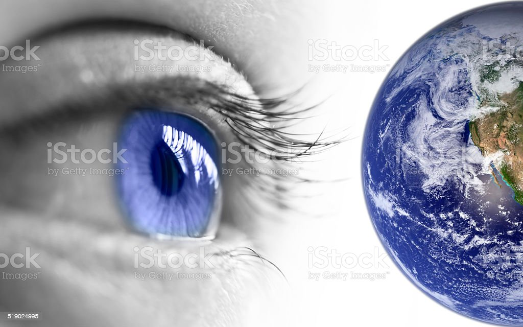 Blue eye and earth stock photo