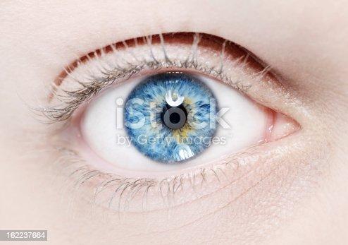 macro shoot of woman blue eye.