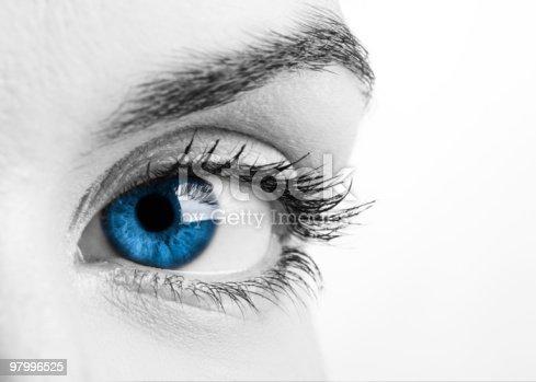 Close-up portrait of a beautiful female blue eye