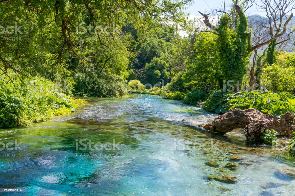 Blue eye - The initial water source of Bistrice river stock photo