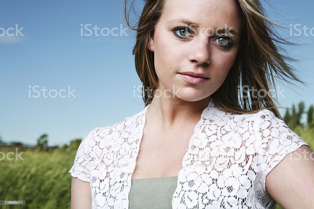 Blue Eyed Blonde Hair Girl During Summer royalty-free stock photo